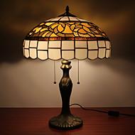 lampes de table tiffany avec 2 feux avec abat-jour en verre - electroplate finition