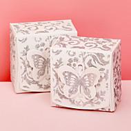 12 Stück / Set zugunsten Halter - Quader Kartenpapier Bevorzugungskästen glitzernde Silber mit Schmetterling oben