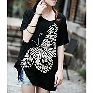 Summer Slim Large Bat Sleeve Modal Butterfly Print Tshirt