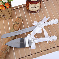 Serving Sets Wedding Cake Knife Personalized  Cake Serving Set with White Satin Ribbon