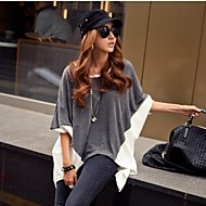 Women's Patchwork Gray/White T-shirt,Casual Round Neck Batwing 3/4 Sleeve