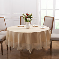 Blanc Polyester Rond Nappes de table