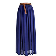 Retro Women's Chiffon Pleated Elastic Waist Long Skirt