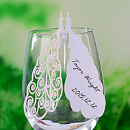 와인 잔 장소 카드와 홀더 레이저 절단 공작 장소 카드 - 12 세트