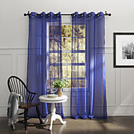 Country One Panel Solid Blue Bedroom Polyester Sheer Curtains Shades