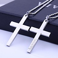 Personalized Gift Cross Stainless Steel Jewelry   Engraved Pendant Necklace with  60cm Chain
