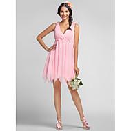 Short/Mini Chiffon Bridesmaid Dress - Candy Pink Plus Sizes / Petite A-line / Princess V-neck