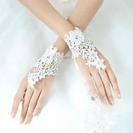 Wrist Length Fingerless Glove Lycra Bridal Gloves / Party/ Evening Gloves Sequins / Floral / Rhinestone