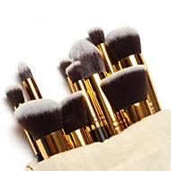 10 Stk. Make-up Bürsten im Set, mit goldfarbenem Griff, mit gratis Tasche