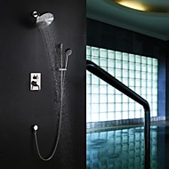 Contemporary Wall Mounted Rain Shower Handshower Included with  Ceramic Valve Single Handle Five Holes for  Nickel Brushed , Shower Faucet