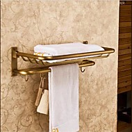 Antique Bronze  Finish  Brass Material  Wall Mounted  Bathroom Shelves With Hooks