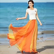 Women's Multicolor Flare Chiffon Skirt