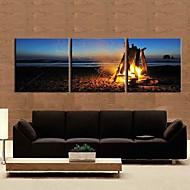 Leinwand Kunst Landschaft Campfire 3-er Set