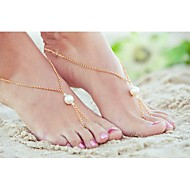 Shixin® Classic Pearl Alloy Barefoot Sandal(Golden,Silver)(1 Pc)