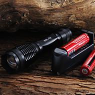 LED Lommelygter / Lommelykter LED 5 Modus 2000 Lumens Justerbart Fokus Cree XM-L T6 18650 / AAACamping/Vandring/Grotte Udforskning /