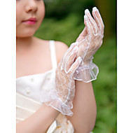 Wrist Length Fingertips Glove Net Flower Girl Gloves Spring / Summer / Fall / Winter White
