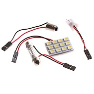 5050 SMD 12 LED White Dome Bulb Light for bil interiør med tre adaptere