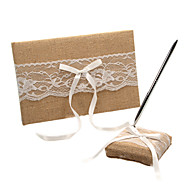 White Lace And Bows Wedding Guest Book and Pen Set Sign In Book