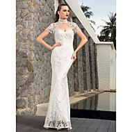 Lanting Bride Sheath/Column Petite / Plus Sizes Wedding Dress-Floor-length Sweetheart Lace / Satin