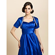 Wedding  Wraps Coats/Jackets Short Sleeve Stretch Satin Royal Blue Party/Evening / Casual T-shirt Open Front