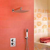 Contemporary Wall Mounted Thermostatic / Rain Shower / Handshower Included with  Ceramic Valve Two Handles Three Holes for  Chrome ,