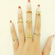 Anéis Casamento / Diário Jóias Liga / Strass Feminino Anéis Meio Dedo 7pçs,Tamanho Único Dourado