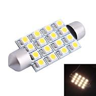 42mm 4W 200LM 3000K 16x3528 SMD Varm hvit LED for bil Reading / License Plate / Dør Lampe (DC12V, 1 stk)