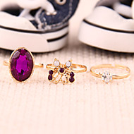 Women's  Retro Mysterious Purple Butterfly Diamond Gem Three-Pieces Ring