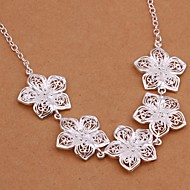 Classic Flower Shape Pendant Silver Plated Hollow Pendant Necklace(White)(1Pc)