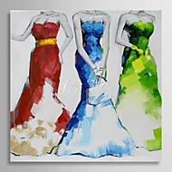 elle boyanmış yağlıboya insanlar üç kadın gerilmiş çerçeve ile akşam önlük giymek