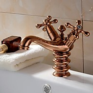 Traditional Deck Mounted Ceramic Valve Two Handles One Hole with Rose Gold Bathroom Sink Faucet