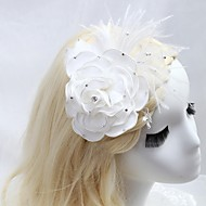 Women's/Flower Girl's Satin/Feather/Cubic Zirconia Headpiece - Wedding/Special Occasion/Outdoor Hair Combs/Flowers