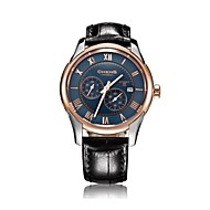 Chens® Men's Eclipse Series Rose Gold Round Plate Calf Strap Double-sided Coating Sapphire Blue Dial Watch