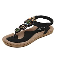 Women's Summer T-Strap Leatherette Casual Flat Heel Rhinestone Black / Brown