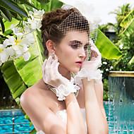 Wrist Length Fingertips Glove Tulle Bridal Gloves / Party/ Evening Gloves Spring / Summer / Fall / Winter Beading / Ruffles