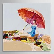 gerilmiş çerçeve ile güneş sahilde rahatlatıcı elle boyanmış yağlıboya insanlar