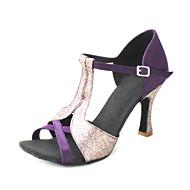 Customizable Women's Dance Shoes Ballroom/Latin/Salsa Satin Customized Heel Black/Blue/Brown/Yellow/Pink/Purple/Red/White/Fuchsia/Other