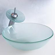 """Moderne 420*130mm(16.5*5.1"""") Rund sink Materiale er Hærdet GlasBadeværelse Håndvask / Badeværelse Vandhane / Badeværelse Monteringsring /"""