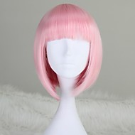Girl's Fashion Capless korte rechte BOB Licht Roze synthetische pruik met Full Bang