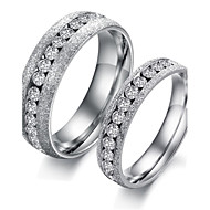 Fashion Titanium Steel Single Row Drilling Pearl Sand Lovers Ring Promis rings for couples