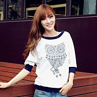 Women's Print White T-shirt , Round Neck ½ Length Sleeve