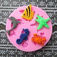 dolphin peixe caranguejo baking bolo fondant molde choclate doces, l6cm * * w6cm h0.9cm