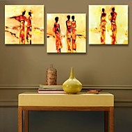 Stretched Canvas Art Abstract of People Decoration  Set of 3