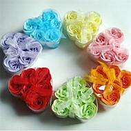6 romantique rose fleurs de savon en forme de coeur (couleur aléatoire)