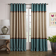 Mediterranean Two Panels Solid Beige  Blue Living Room Panel Curtains Drapes