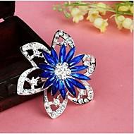 Women's Fashion Retro Popular Korean Flower Shape Multicolor Alloy Rhinestone Brooches