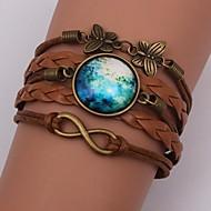 Bracelet / Wrap Bracelet Galaxy Pattern Brown Leather Jewelry 1pc