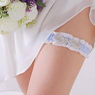 charme blanc et bleu satin mariage jarretière avec strass