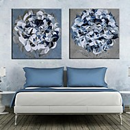 Stretched Canvas Art Blue Flowers Set of 2