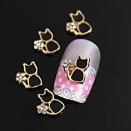 10kpl kultainen kullattu metalli musta kissa Rhinestone 3d metalliseos kynsikoristeet koriste